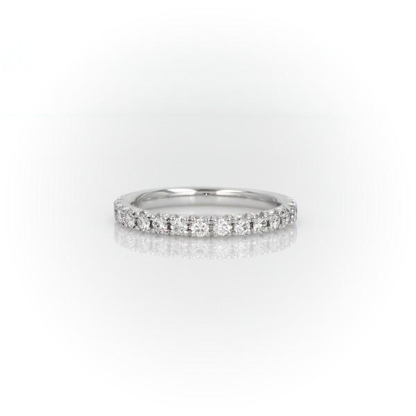 Anillo de bodas con pavé francés de diamantes en oro blanco de 14 k - I/SI2 (0,3 qt. total)