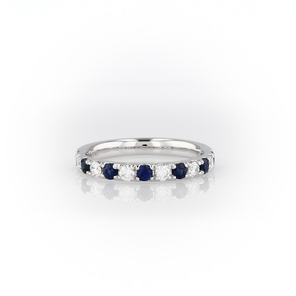 鉑金Riviera 密釘藍寶石與鑽石戒指(2.2毫米)