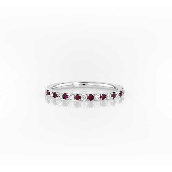 Riviera Pavé Ruby and Diamond Eternity Ring in 14k White Gold (1.5 mm)