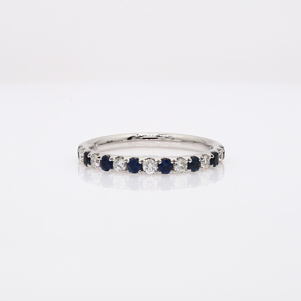 Sapphire and Diamond Ring in 18k White  Gold (1.9 mm)