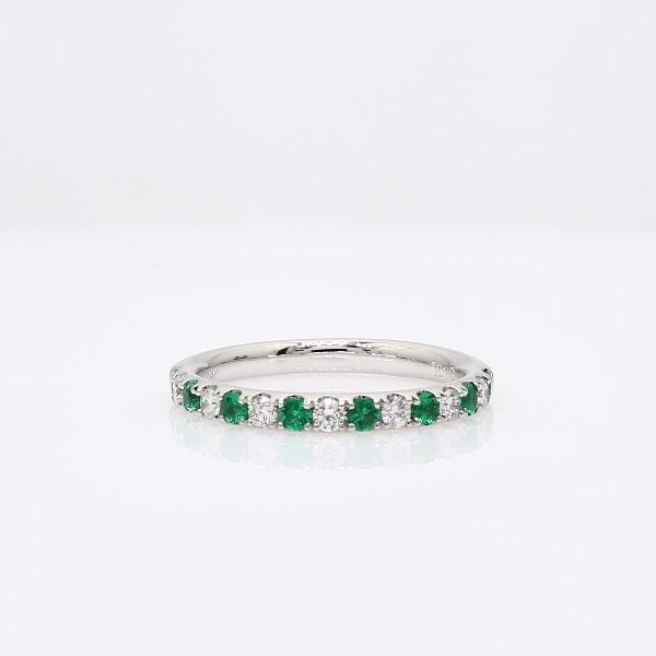 18k 白金綠寶石鑽石戒指(1.9毫米)