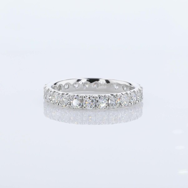 French Pavé Diamond Eternity Band in Platinum - H/VS2 (1 1/2 ct. tw.)