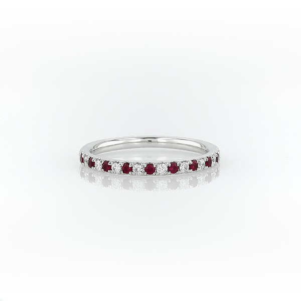 Riviera Pavé Ruby and Diamond Ring in Platinum (1.5 mm)