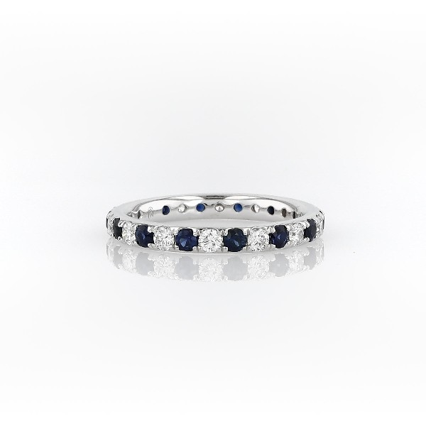 Riviera Pavé Sapphire and Diamond Eternity Ring in Platinum (2.2mm)