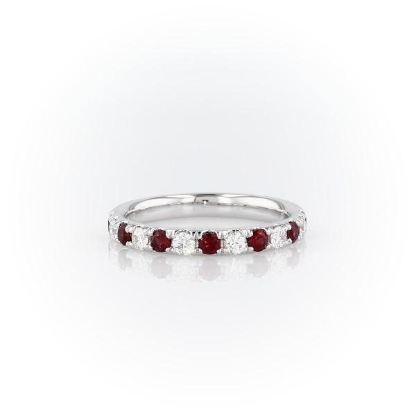 Anillo con pavé de diamantes y rubíes Riviera en platino (2.2mm)