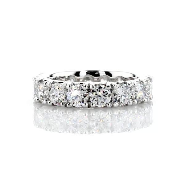 鉑金法式密釘鑽石永恆戒指 - H/SI2 (4 克拉總重量)
