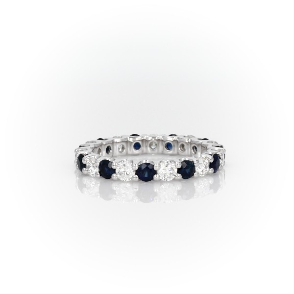 Luna Sapphire and Diamond Eternity Ring in Platinum