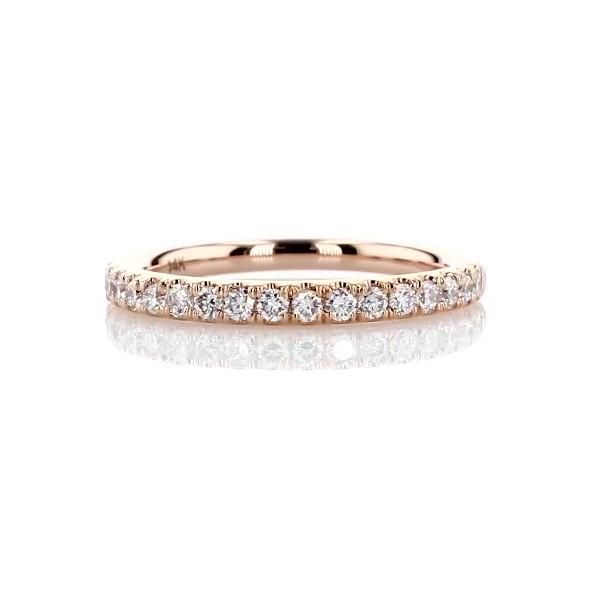 14k 玫瑰金Riviera 密釘鑽石戒指(1/4 克拉總重量)