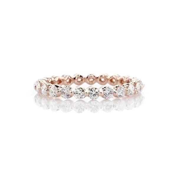 14k 玫瑰金浮动钻石永恒戒指 - I/SI2 (1 克拉总重量)