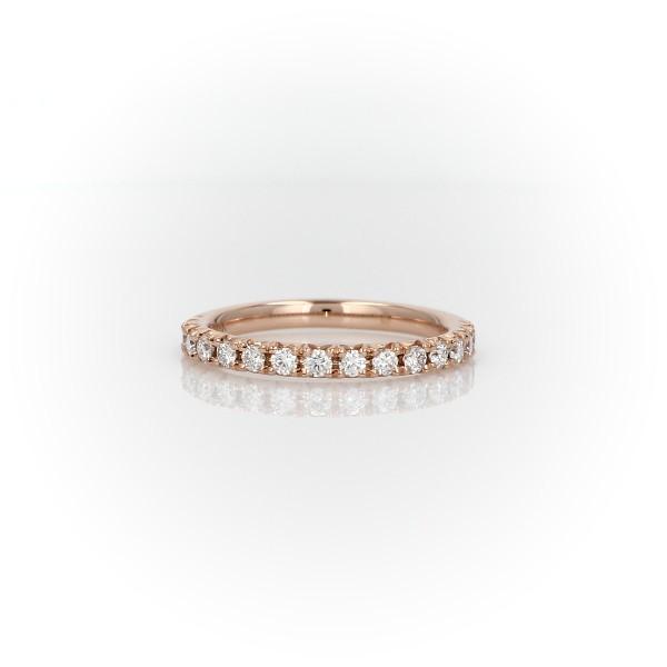 Bague en diamants sertis pavé français en or rose 18carats (0,30ct, poids total)