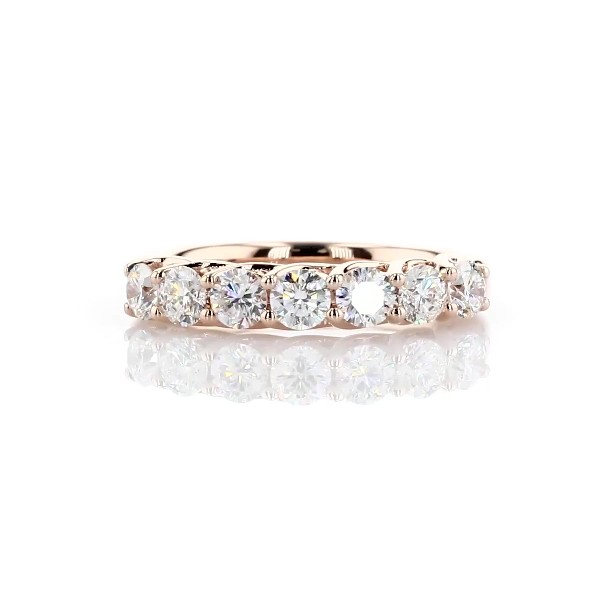 Tessere Seven Stone Diamond Wedding Ring in 14k Rose Gold - I/SI2 (1 ct. tw.)