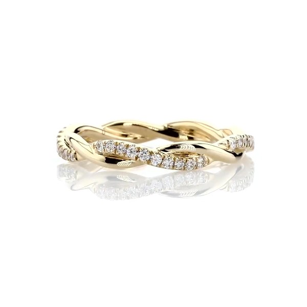 Petite Twist Diamond Eternity Ring in 14k Yellow Gold (0.19 ct. tw.)