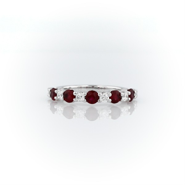 Alternating Diamond and Ruby Band in 14k White Gold