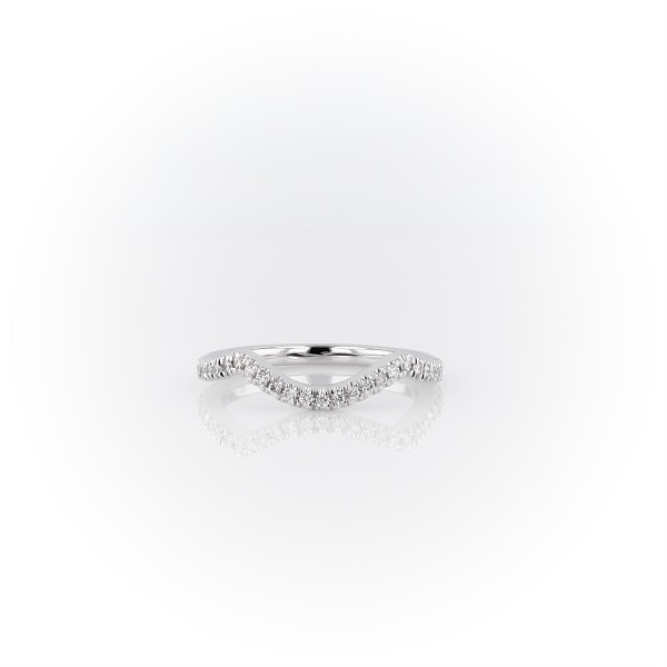 Petite Twist Curved Diamond Wedding Ring in 14k White Gold