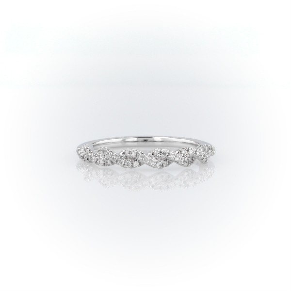 Pave Twist Diamond Wedding Ring in 14K White Gold (1/8 ct. tw.)