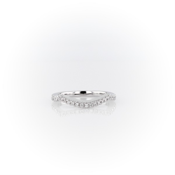 Curved Twist Halo Diamond Wedding Ring in 14k White Gold