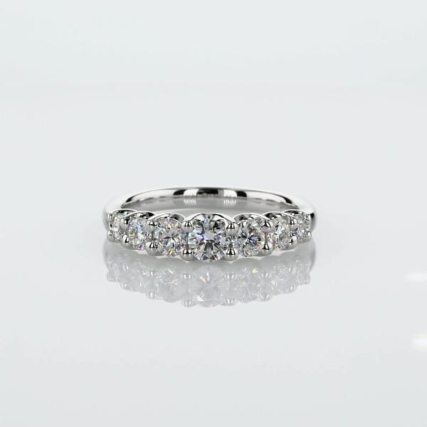 18k 白金七石缎带造型剖面渐变钻石戒指 - H/SI2 (3/4 克拉总重量)
