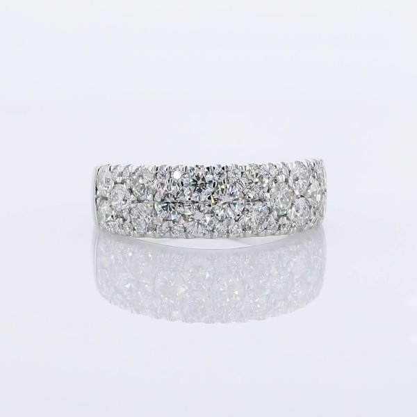 18k 白金纤巧钻石圆拱结婚戒指 - H/VS2 (1 1/2 克拉总重量)
