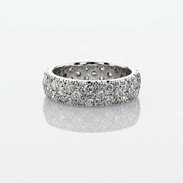 Bague d'éternité dôme diamants raffinée en  Or blanc 18carats - H/VS2 (2carats, poids total)
