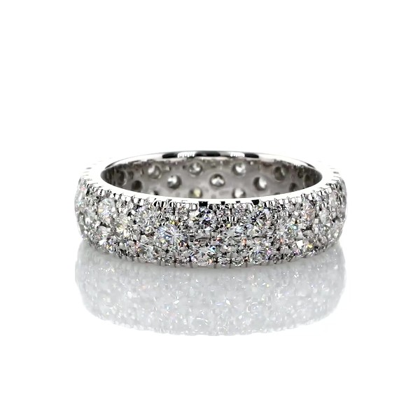 Sleek Diamond Dome Eternity Ring in 18k White Gold- H/VS2 (2 ct. tw.)