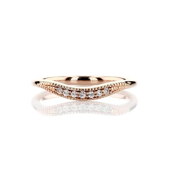 Petite Milgrain Curved Diamond Ring in 14k Rose Gold