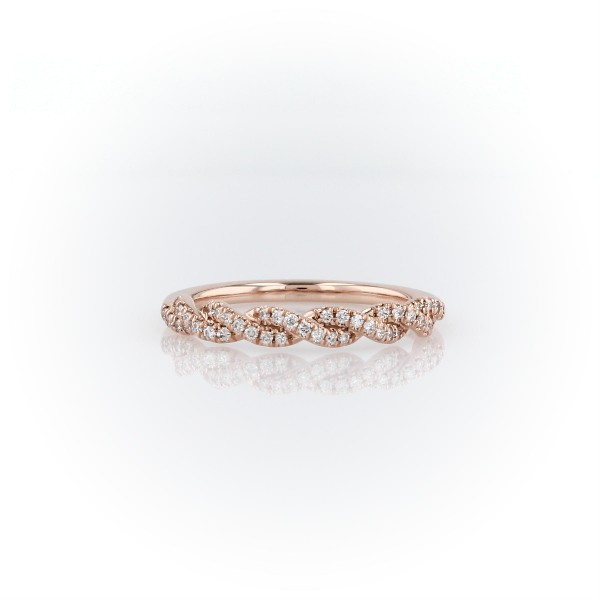 Pave Twist Diamond Wedding Ring in 14K Rose Gold (1/8 ct. tw.)
