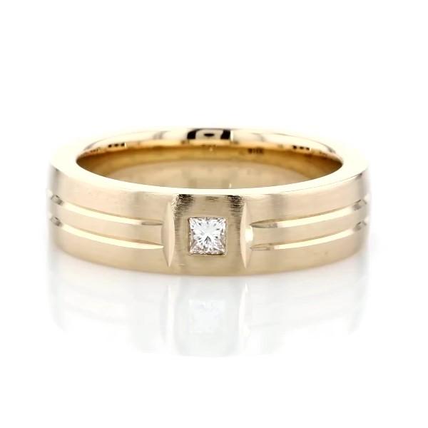Alianza de bodas mate con doble incrustación pulida y diamante en oro amarillo de 14k (6mm)