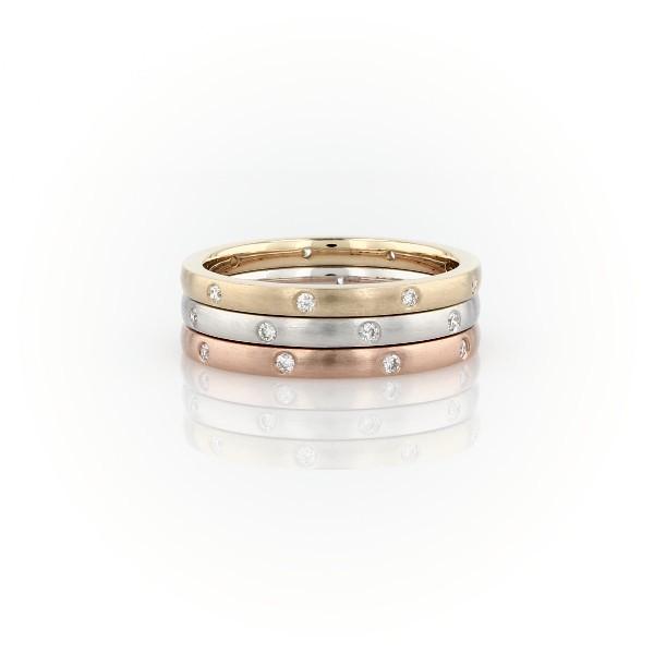 14K 白金、黄金和玫瑰金叠戴星光钻石永恒戒指