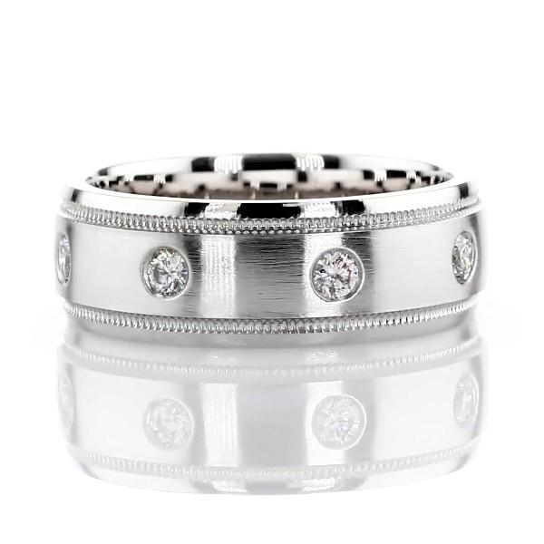 14k 白金固镶锯状滚边钻石永恒结婚戒指(1/3 克拉总重量)