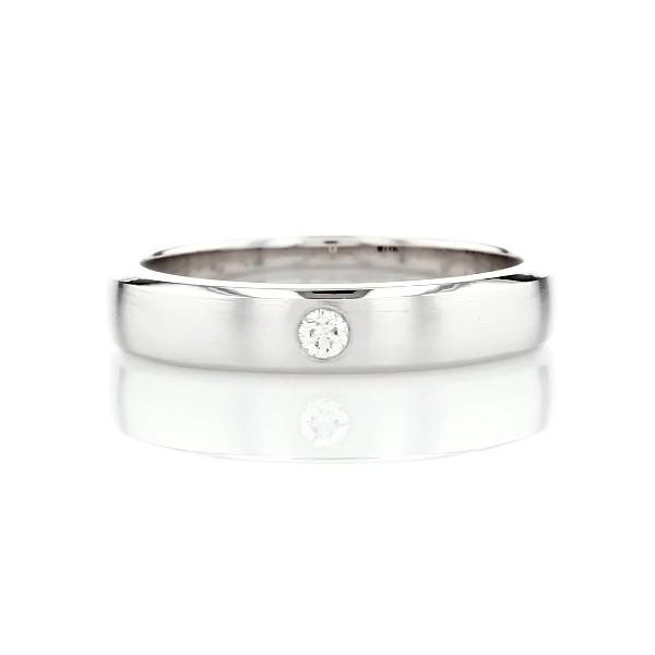Brushed Single Diamond Wedding Ring in 14k White Gold (4.5mm)