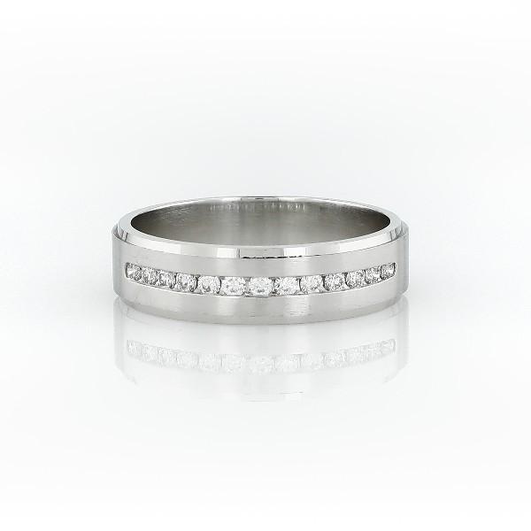 鉑金鑽石迫鑲結婚戒指(1/3 克拉總重量)
