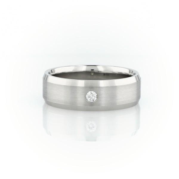 铂金单钻结婚戒指<br>(7毫米)
