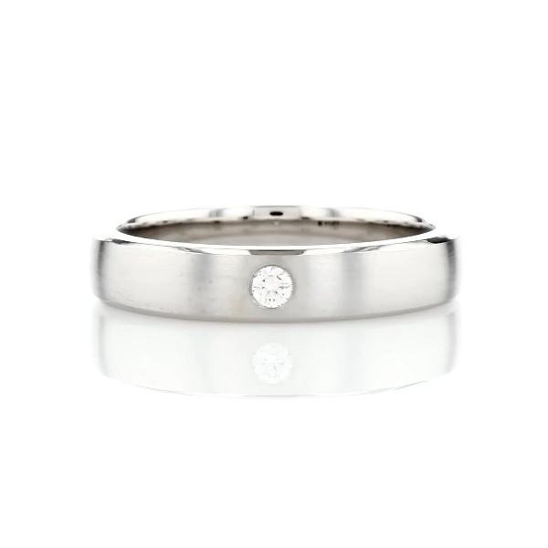 鉑金髮絲紋單鑽結婚戒指(4.5毫米)