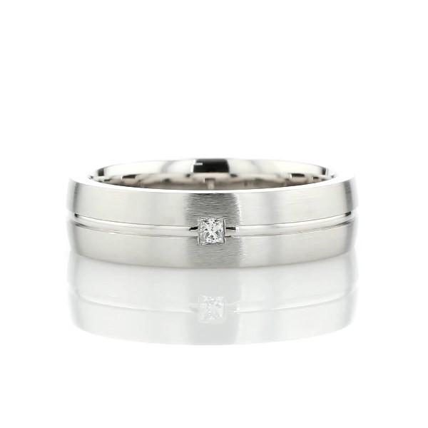 Single Princess Diamond and High Polish Inlay Wedding Band in Platinum (7mm)