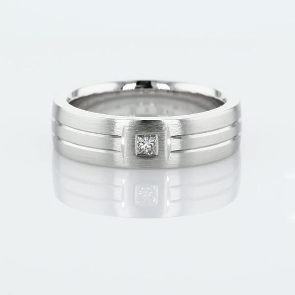 Single Diamond Dual Polish Inlay Matte Wedding Band in Platinum (6mm)