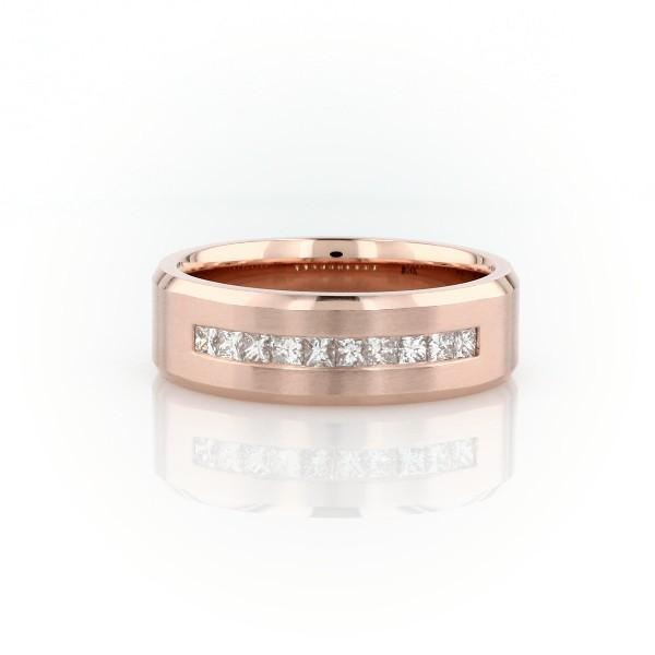 14k 玫瑰金公主方形切割槽镶钻石结婚戒指(1/2 克拉总重量)
