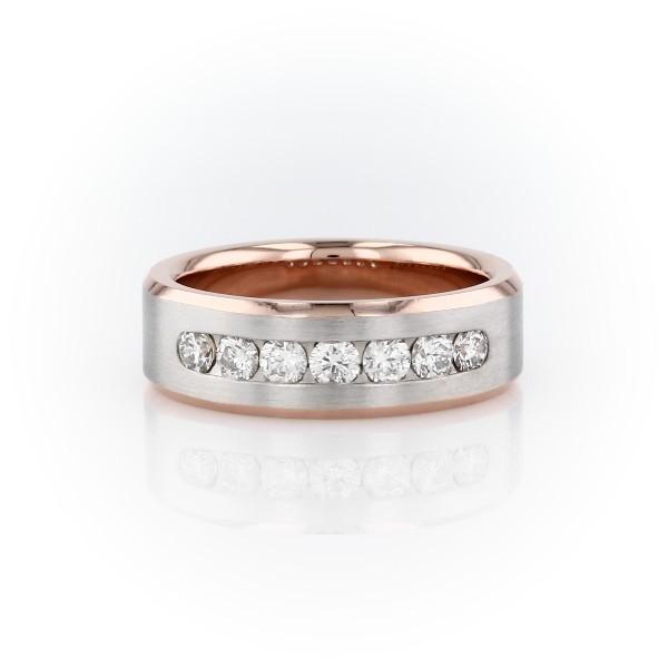 14k 白金及玫瑰金双色槽镶钻石戒指(3/4 克拉总重量)