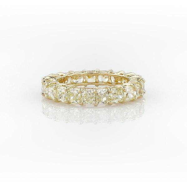 Bague d'éternité diamant jaune taille radiant en or jaune 18carats (3 1/2carats, poids total)