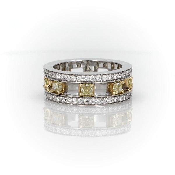Open Trio Yellow Diamond Eternity Ring in 18k White and Yellow Gold (2 ct. tw.)