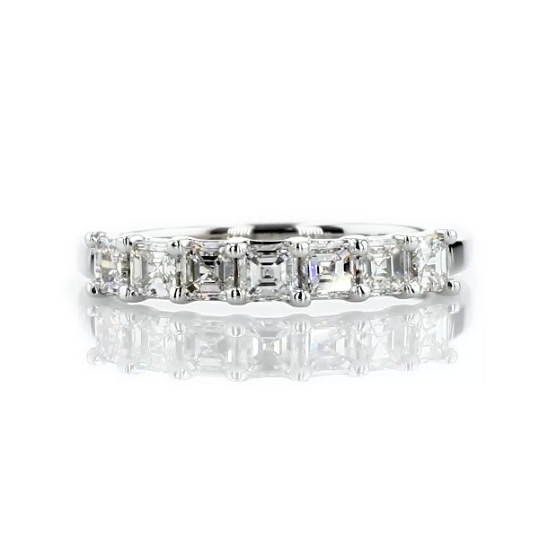 Seven Stone Asscher Diamond Wedding Ring in 14k White Gold - I/SI2  (3/4 ct. tw.)