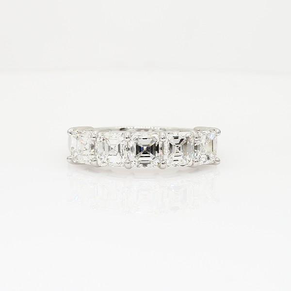 鉑金經典上丁方形切割五石鑽石戒指(2 1/2 克拉總重量)
