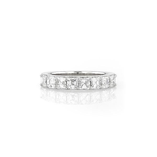 铂金阿斯切形八石钻石戒指<br>(1 1/5 克拉总重量)