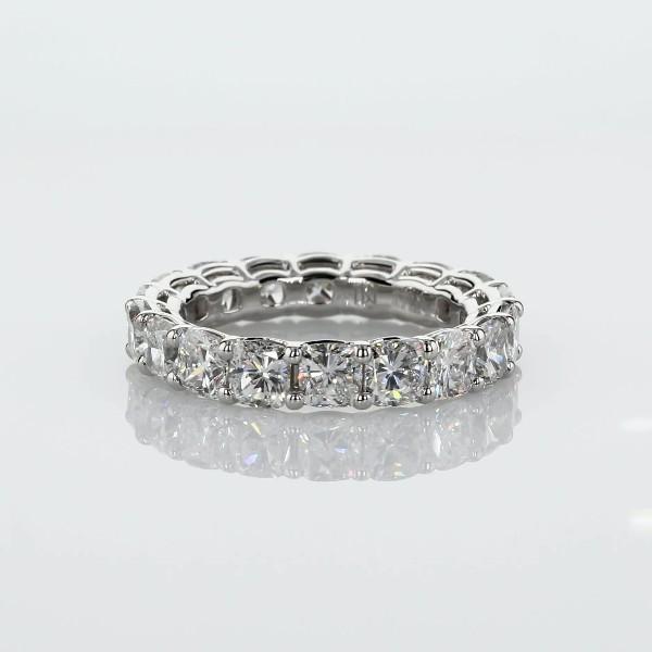 鉑金墊形切割鑽石永恆戒指 - G/SI1 (5.5 克拉總重量)