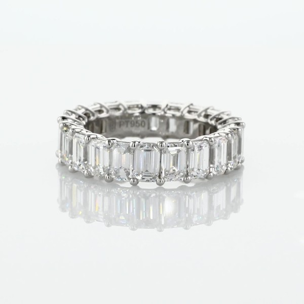 Emerald Cut Diamond Eternity Ring in Platinum