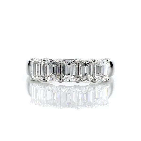 Five Stone Emerald Cut Diamond Ring in Platinum- H/VS2 (1 1/2 ct. tw.)