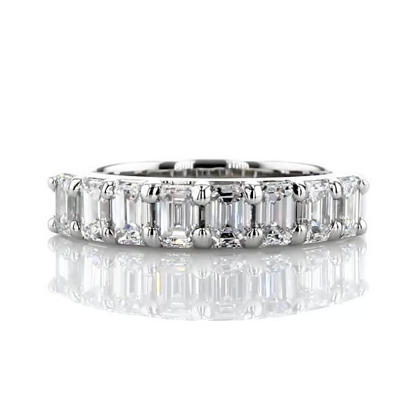 Classic Emerald Cut Eight Stone Diamond Ring in Platinum (1.15 ct. tw.)