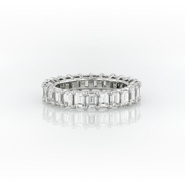 鉑金綠寶石形切割鑽石永恆戒指(3.0 克拉總重量)
