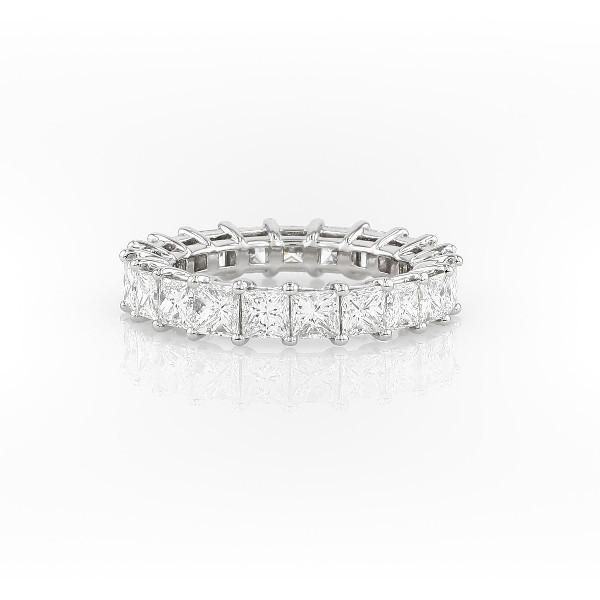 铂金公主方形钻石永恒戒指<br>(4.0 克拉总重量)
