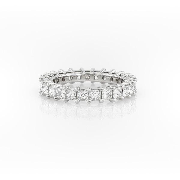 鉑金公主方形鑽石永恆戒指(2.0 克拉總重量)