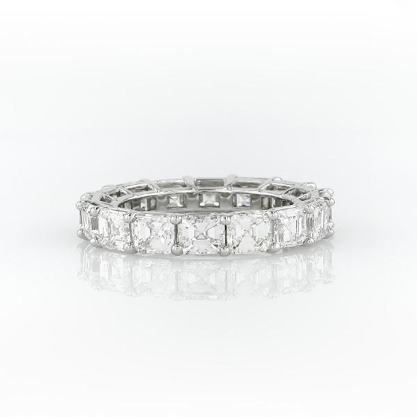 鉑金上丁方形鑽石永恆戒指(7.0 克拉總重量)